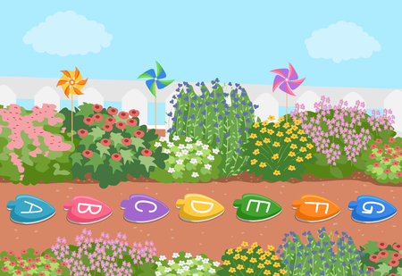 Illustration of an Alphabet Stepping Stones in the Flower Garden Stock Photo