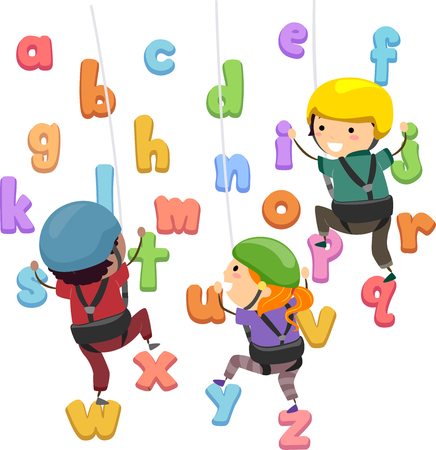 Illustration of Stickman Kids Wearing Helmet, Climbing and Going Up an Alphabet Wall Stock Photo