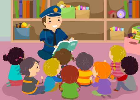 스틱 맨 키즈의 그림 클래스에서 책을 읽고 경찰 듣기 스톡 콘텐츠