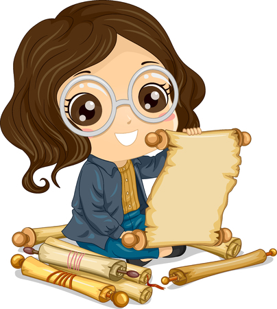 Illustration of a Kid Girl Reading an Old Scroll Among Many Paper Scrolls Stock Photo