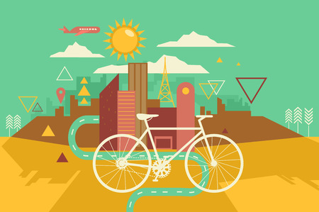 Illustration of a Bike Lane in Abstract Geometric Design
