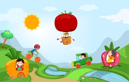 Illustration of Stickman Kids in a Vegetable Fantasy Land