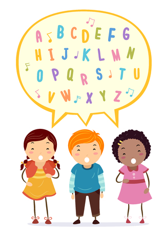 Illustration of Stickman Kids Singing the Alphabet in a Speech Bubble Stock Photo