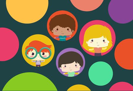 Background Illustration of Kids Inside Big Circles