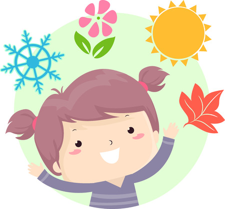 Illustration of a Kid Girl with a Snowflake, Flower, Sun and Maple Leaf Representing Four Seasons from Winter, Spring, Summer to Autumn or Fall Stock Photo