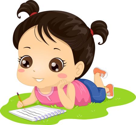 Ilustración de una niña Kid tumbado en la hierba escribiendo en su cuaderno Foto de archivo
