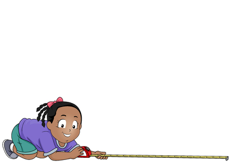 Illustration of a Kid Girl Holding a Tape Measure Measuring Distance By Feet or Meter