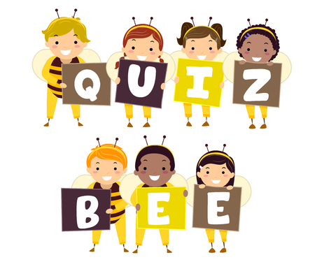 Illustration of Stickman Kids in Bee Costumes Holding Letters that Spell Quiz Bee
