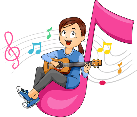 Illustration of a Kid Girl Sitting on an Eight Note Playing the Guitar with Music Notes Floating Behind