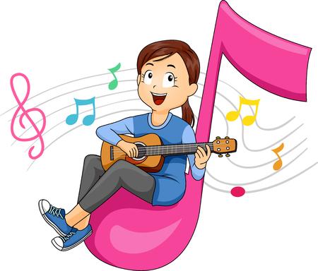 Illustrazione di una ragazza Kid seduto su una nota otto suonare la chitarra con note musicali galleggianti dietro Archivio Fotografico - 92724843