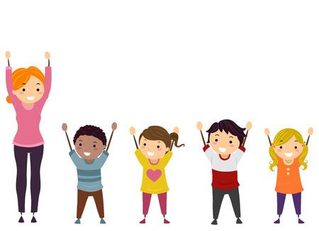 Illustratie van Stickman Kids en hun leraar met armen omhoog