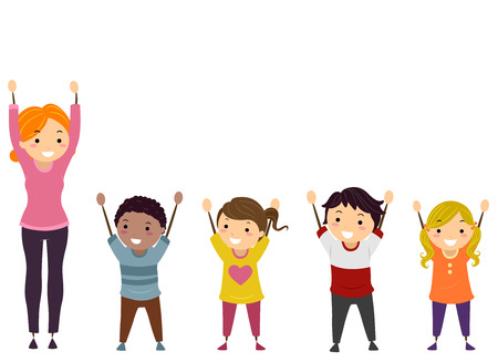 Illustration of Stickman Kids and their Teacher with Arms Up 스톡 콘텐츠
