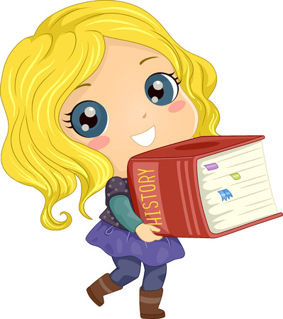 Illustration of a Kid Girl Carrying a Big History Book with Flags and Tabs for Notes