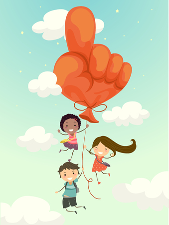 Illustration of Stickman Kids Students Carried by a Big Hand with Extended Index Finger