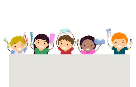 칫 솔, 치약, 빗, 샴푸, 비누, 티슈, 면화 싹 및 손톱 깎기 지주 Stickman 아이의 그림