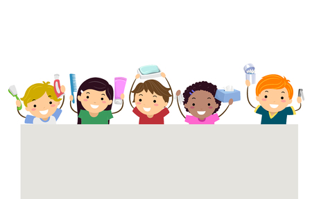 Illustration of Stickman Kids Holding Toothbrush, Toothpaste, Comb, Shampoo, Soap, Tissue, Cotton Buds and Nail Clipper Stock Photo