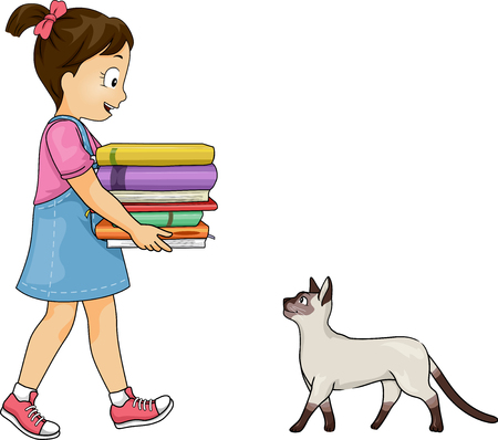 Illustration of a Kid Girl Carrying a Stack of Books and a Cat Фото со стока - 92676794