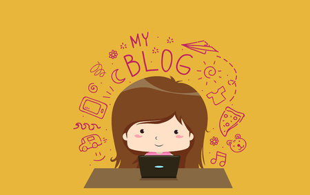Illustration of a Kid Girl Using Her Laptop Writing a Lifestyle Blog with Doodles of Things She Like Stock Photo