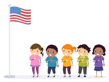 Illustratie van Stickman-kinderen voor een Amerikaanse vlag die de belofte van trouw reciteert