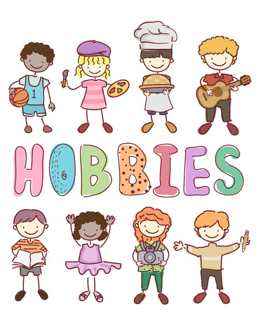 Illustration of Stickman Kids with Different Hobbies from Basketball, Painting, Baking, Guitar, Reading, Ballet, Photography to Writing Stock Photo