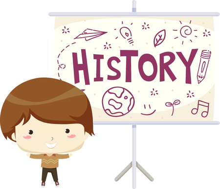 Illustration of a Kid Boy with a Projector Screen Presenting History in Class