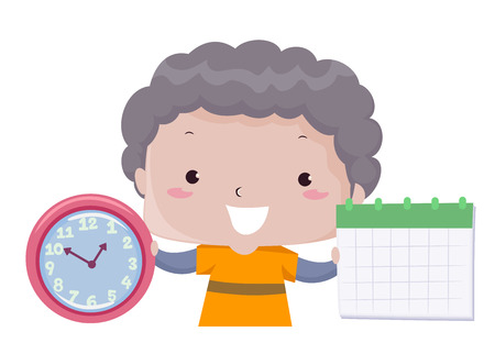 Illustration of a Kid Boy Showing a Clock and a Calendar as Part of Time, Days, Weeks, Months Lesson