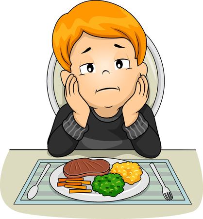 Illustration of a Kid Boy In Front of a Meal with Hands On Face and No Appetite