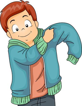 Ilustracja chłopca Kid zakładanie kurtki na zimę Zdjęcie Seryjne