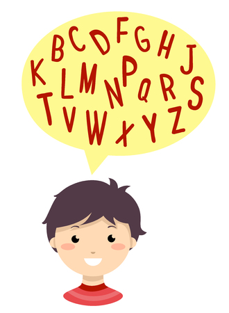 Illustration of a Kid Boy with a Speech Bubble Full of Consonants in Capital Letters