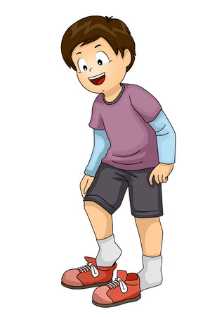 Illustration of a Kid Boy Putting on or Taking Shoes Off Stock Photo
