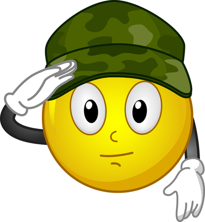 Illustration of a Mascot Smiley Wearing Soldier Hat Saluting with Right Hand