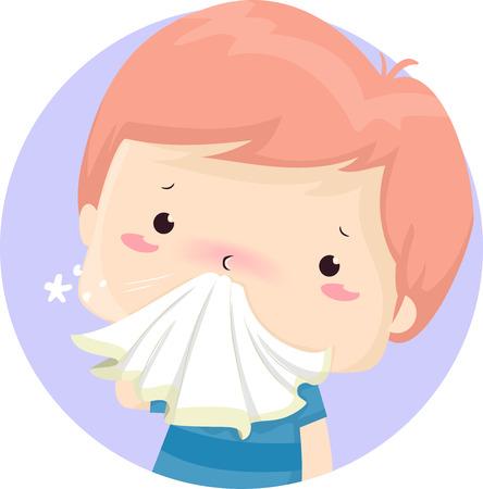 Illustratie van een zieke jongen jongen zakdoek houden aan zijn loopneus Stockfoto - 93058703