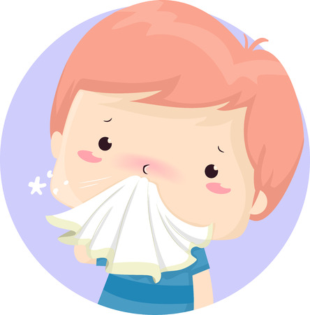 Illustration of a Sick Kid Boy Holding Handkerchief to His Runny Nose