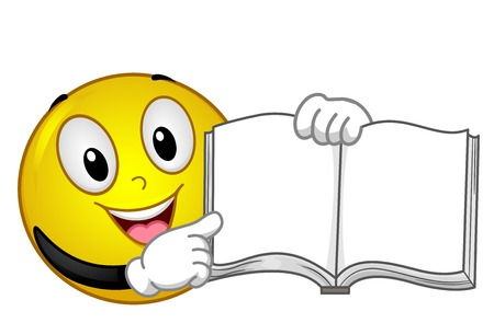 Illustration of a Mascot Smiley Smiling and Pointing to a Blank Open Book 스톡 콘텐츠