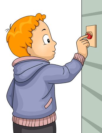 Illustratie van een jong geitjejongen die een Deurbel belt die een Huis bezoekt