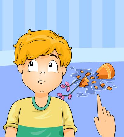 花瓶を壊した自分の過ちを否定するよう求められる少年のイラスト