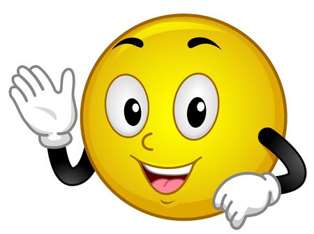 Illustration of a Smiley Mascot Waving Its Hand Saying Hello