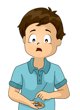 Illustration of a Kid Boy Counting Money Looking Worried Because It Doesnt Add Up