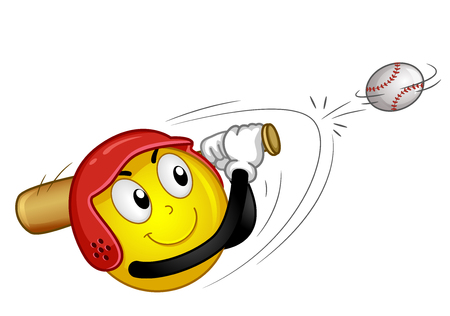 Illustration of a Smiley Mascot Wearing a Helmet and Using a Bat Hitting a Baseball Ball Stock Photo