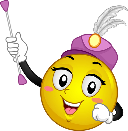 Illustration of a Smiley Mascot Wearing a Majorette Hat and Holding a Baton Stock Photo