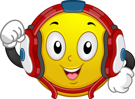Illustration of a Mascot Smiley Wearing Wrestling Helmet with Fist Up
