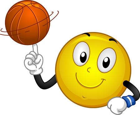 Abbildung eines smiley-Maskottchens, das eine Basketballkugel auf seinem Finger spinnt Standard-Bild - 93288877