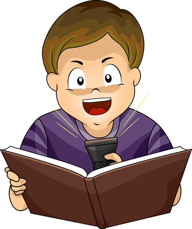 Illustration of a Kid Boy Sharing a Scary Story, Reading a Book and Pointing Flash Light to His Face
