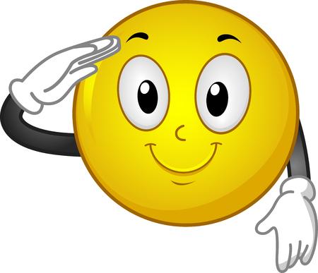 Ilustração de uma mascote sorridente sorrindo e saudando com a mão direita Foto de archivo - 93193545