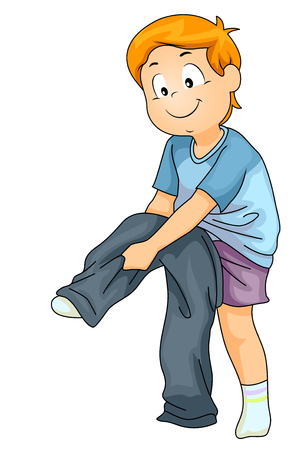 Illustration of a Kid Boy Putting On His Pants as Part of Independent Teaching