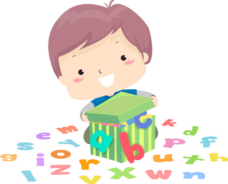 Illustration of a Kid Boy Opening a Box Full of Small Letters in the Alphabet