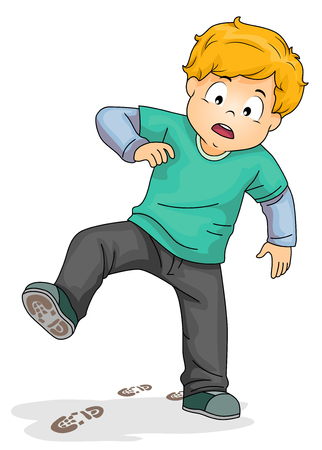 Illustration of a Kid Boy Wearing Dirty Shoes with Shoe Marks on the Floor