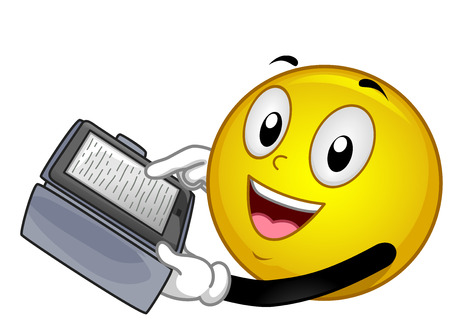 Illustration of a Smiley Mascot Using a Tablet for Reading an Ebook