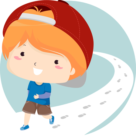 Illustration of a Kid Boy Traveling By Foot, Walking on the Road