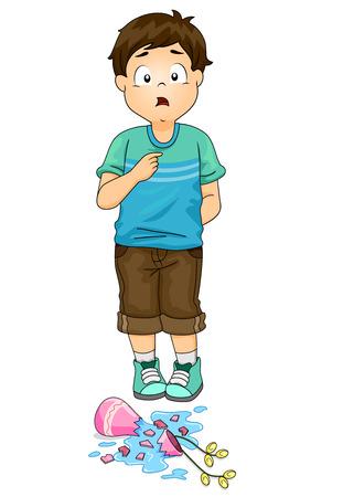 Illustratie van een Kid Boy Toelating Fout voor het breken van de vaas voor hem Stockfoto